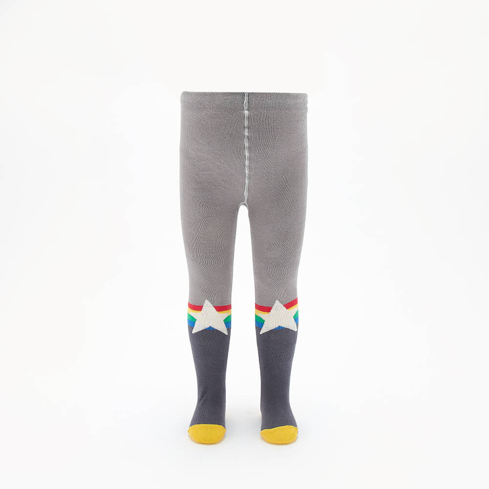MOLLY - Kids Rainbow Star Tights  - GREY