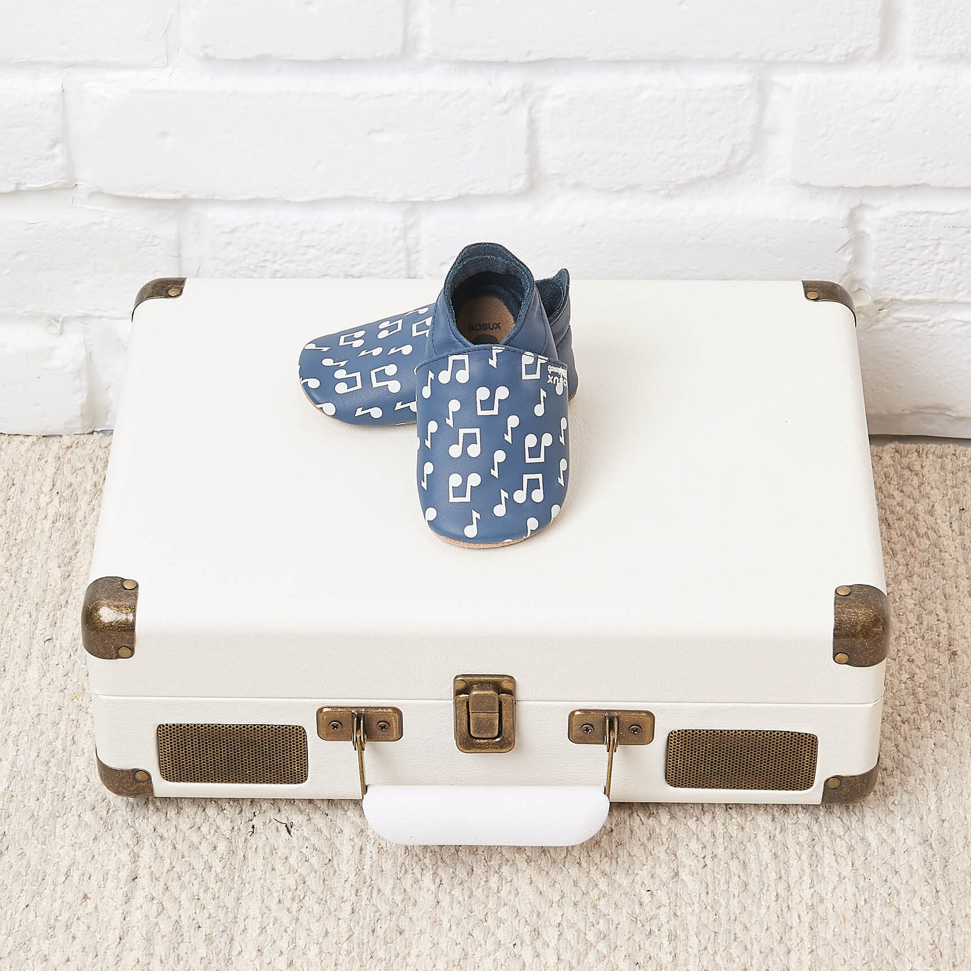 NOTES - Bobux collab Music Note Print Soft Sole Baby Shoe - NAVY