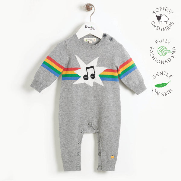 MUSIC - Baby Rainbow Music Intarsia Playsuit - GREY
