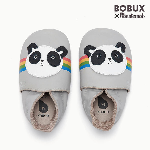 PEACE PANDA - Bobux collab Panda Soft Sole Baby Shoe - GREY