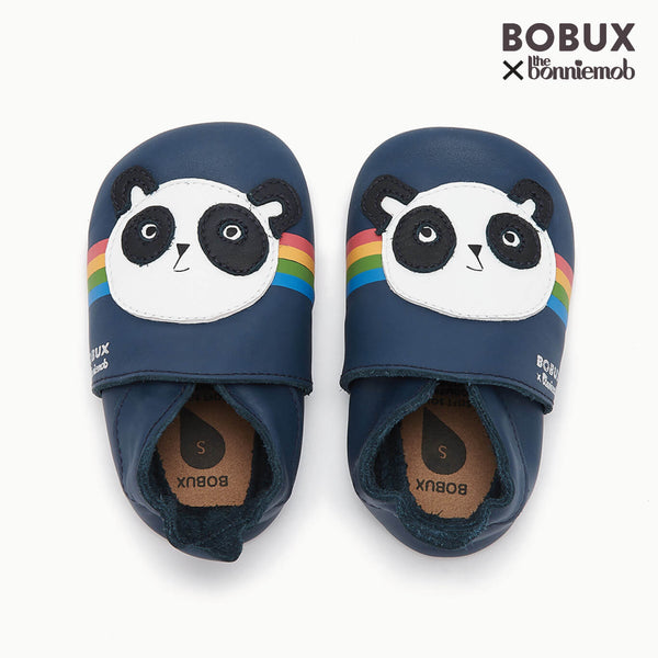 PEACE PANDA - Bobux collab Panda Soft Sole Baby Shoe - NAVY