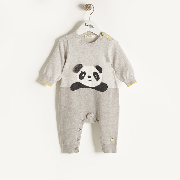 PANDY - Unisex Baby Knitted Panda Playsuit - Grey