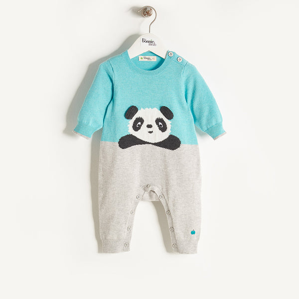 PANDY - Baby Boy Knitted Panda Playsuit - Pale Blue