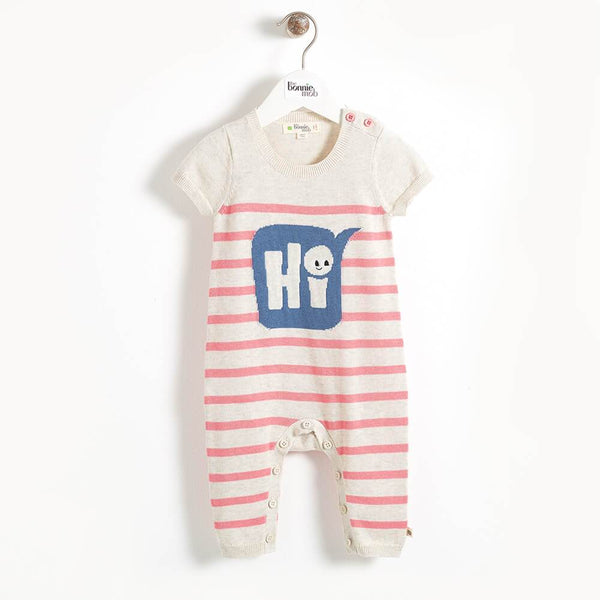 PANTONE - 'Hi' Striped Intarsia Baby Playsuit - Pink Stripe