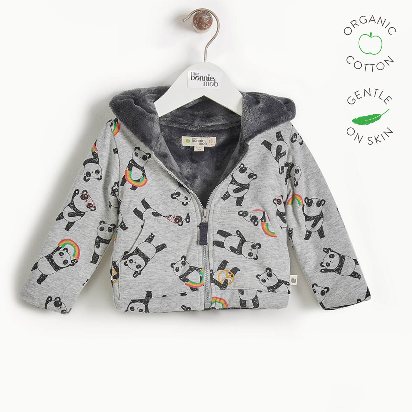 PARKER - Kids Panda Hoodie Lined with Faux Fur  - GREY