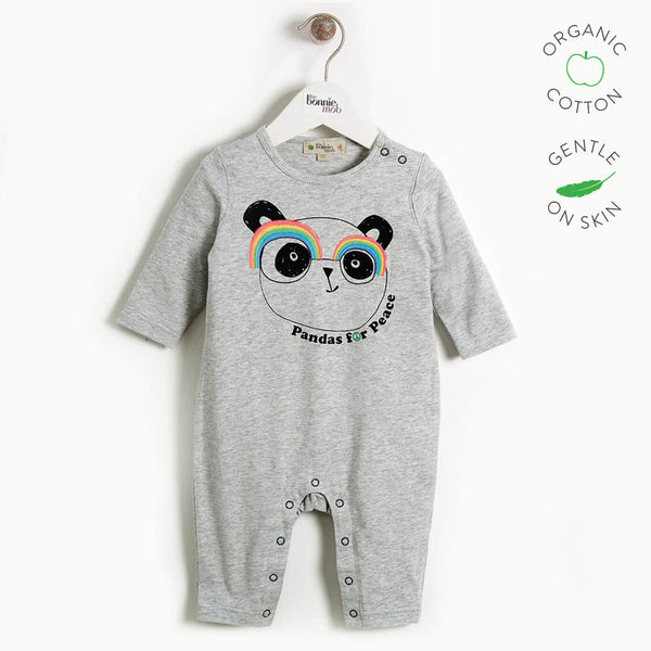 PEACEFUL - Baby Embroidered Panda Playsuit - GREY PLACED