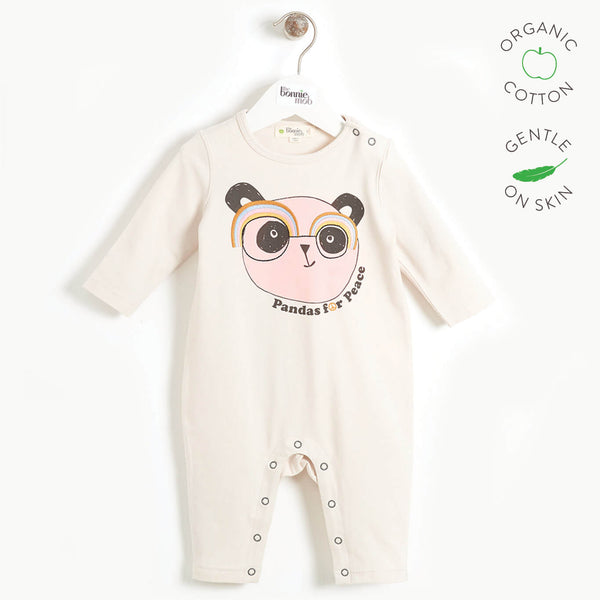 PEACEFUL - Baby Embroidered Panda Playsuit - SAND PLACED