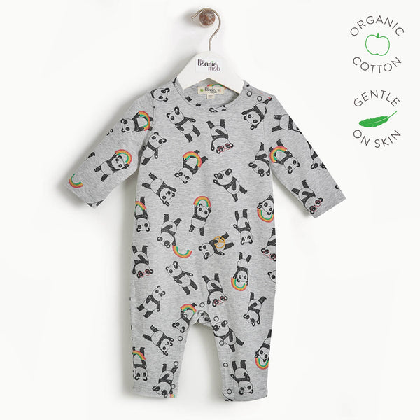 PEACE - Baby Panda Print Playsuit - GREY