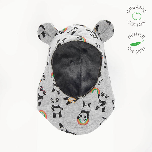 PETE - Baby Panda Balaclava Lined with Faux Fur - GREY