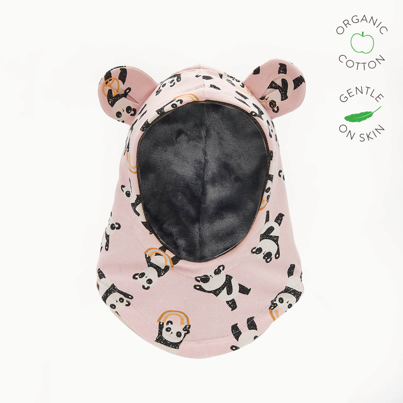 PETE - Baby Panda Balaclava Lined with Faux Fur - PINK