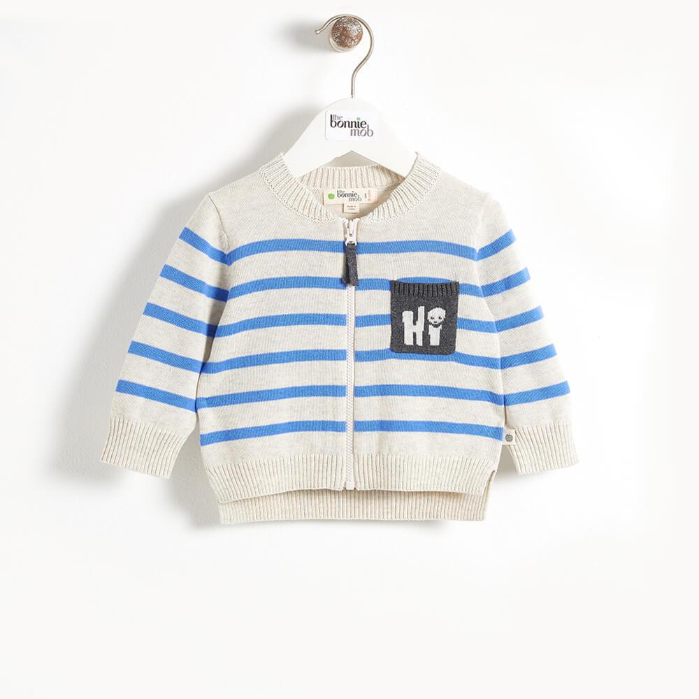 PICASSO - 'Hi' Pocket Striped Baby Cardigan - Blue Stripe