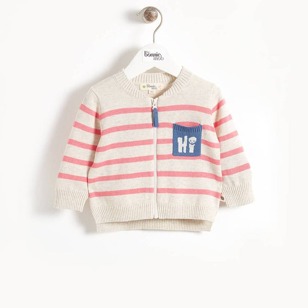 PICASSO - Hi' Pocket Striped Baby Cardigan - Pink Stripe