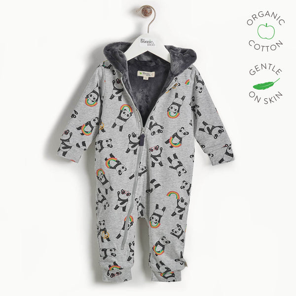 PLAY - Baby Hooded Panda Onesie Lined with Faux Fur - GREY