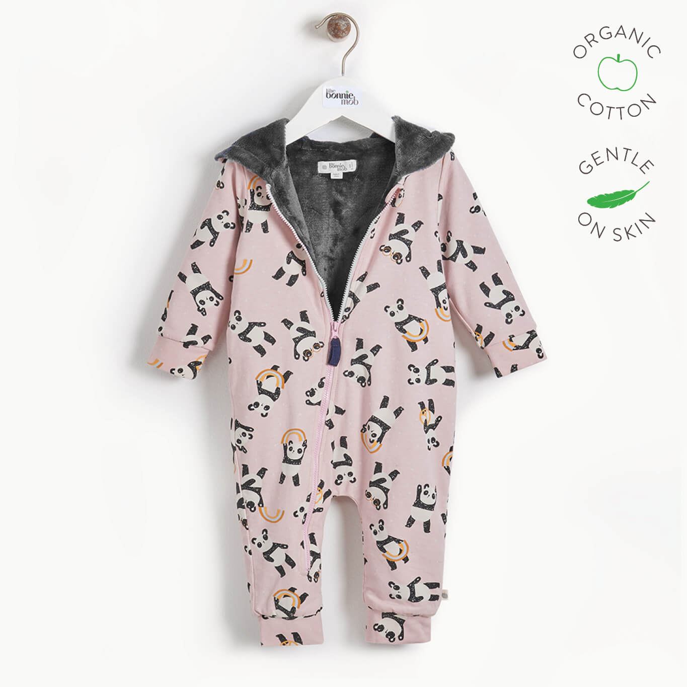 PLAY - Baby Hooded Panda Onesie Lined with Faux Fur - PINK