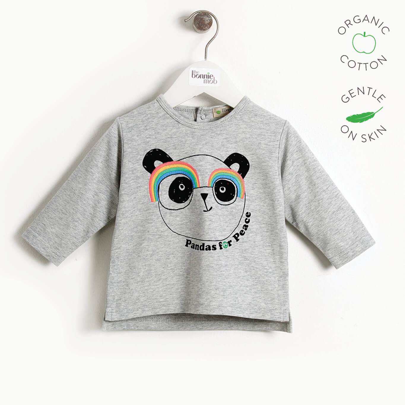PLEASE - Baby Long Sleeve Panda T-shirt - GREY PLACED