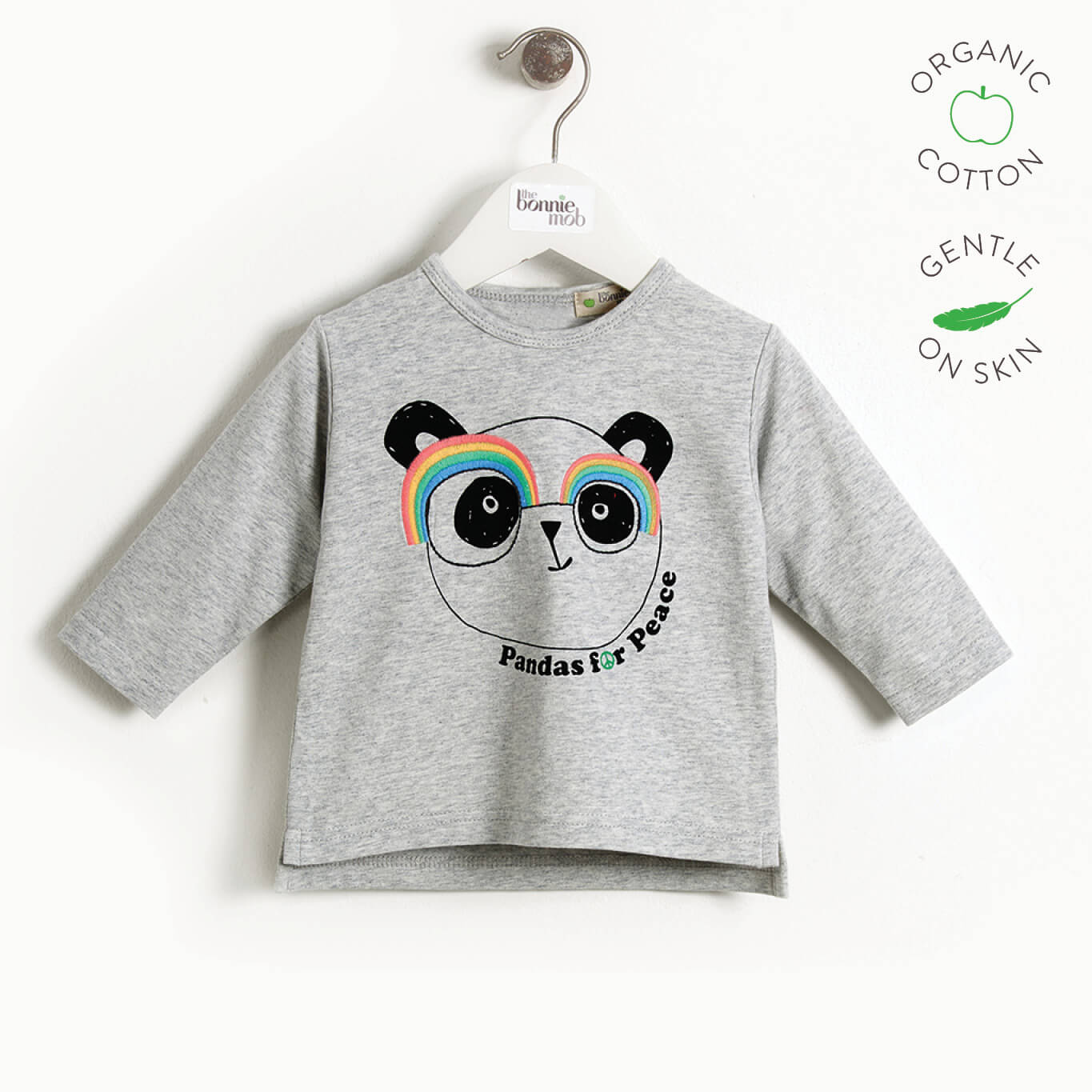 PLEASE - Kids Long Sleeve Panda T-shirt  - GREY PLACED