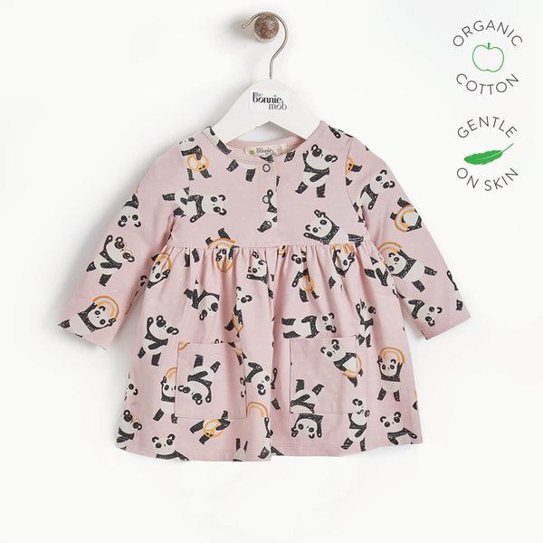POLLY - Girls Full Frill Panda Dress With Pockets - PINK