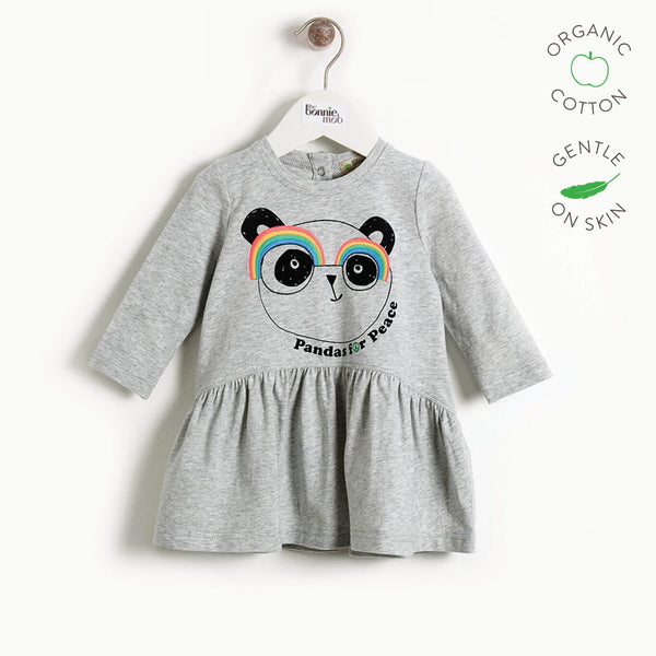 PRUDENCE - Girls Embroidered Panda Dress  - GREY PLACED