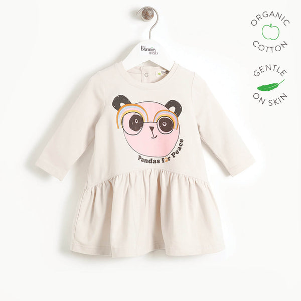 PRUDENCE - Girls Embroidered Panda Dress  - SAND PLACED