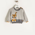 RAFFA - Unisex Baby Knitted Tiger Sweater - Grey