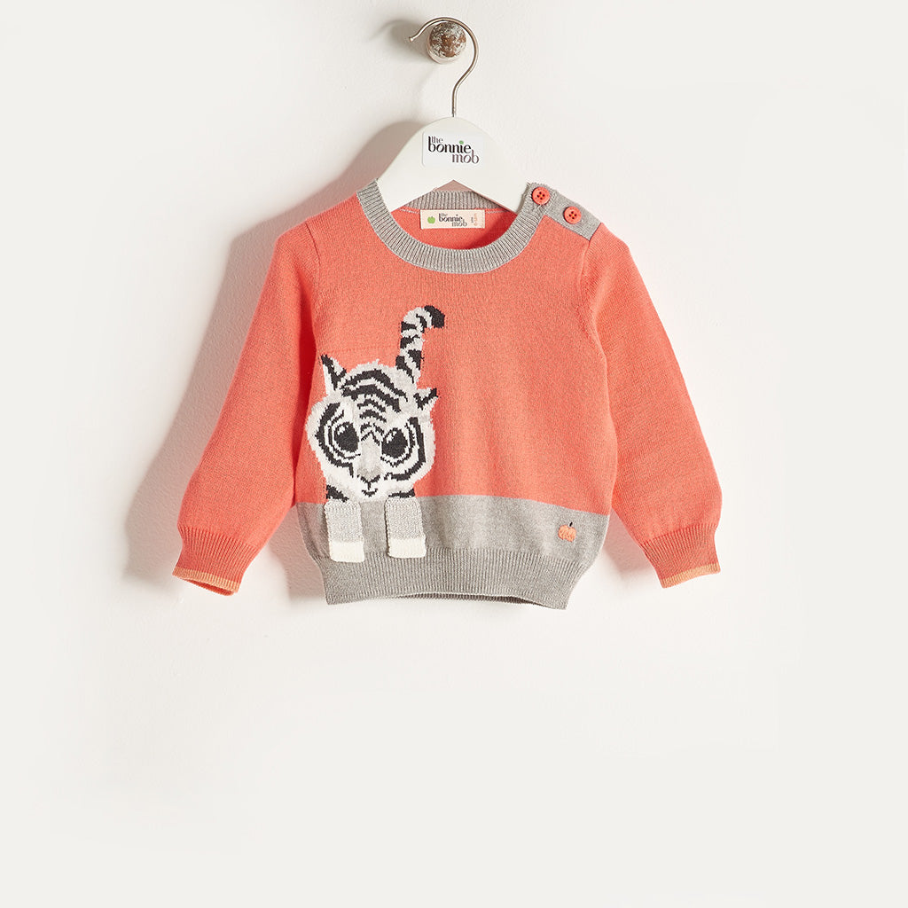 RAFFA - Girls Knitted Tiger Sweater - Sorbet