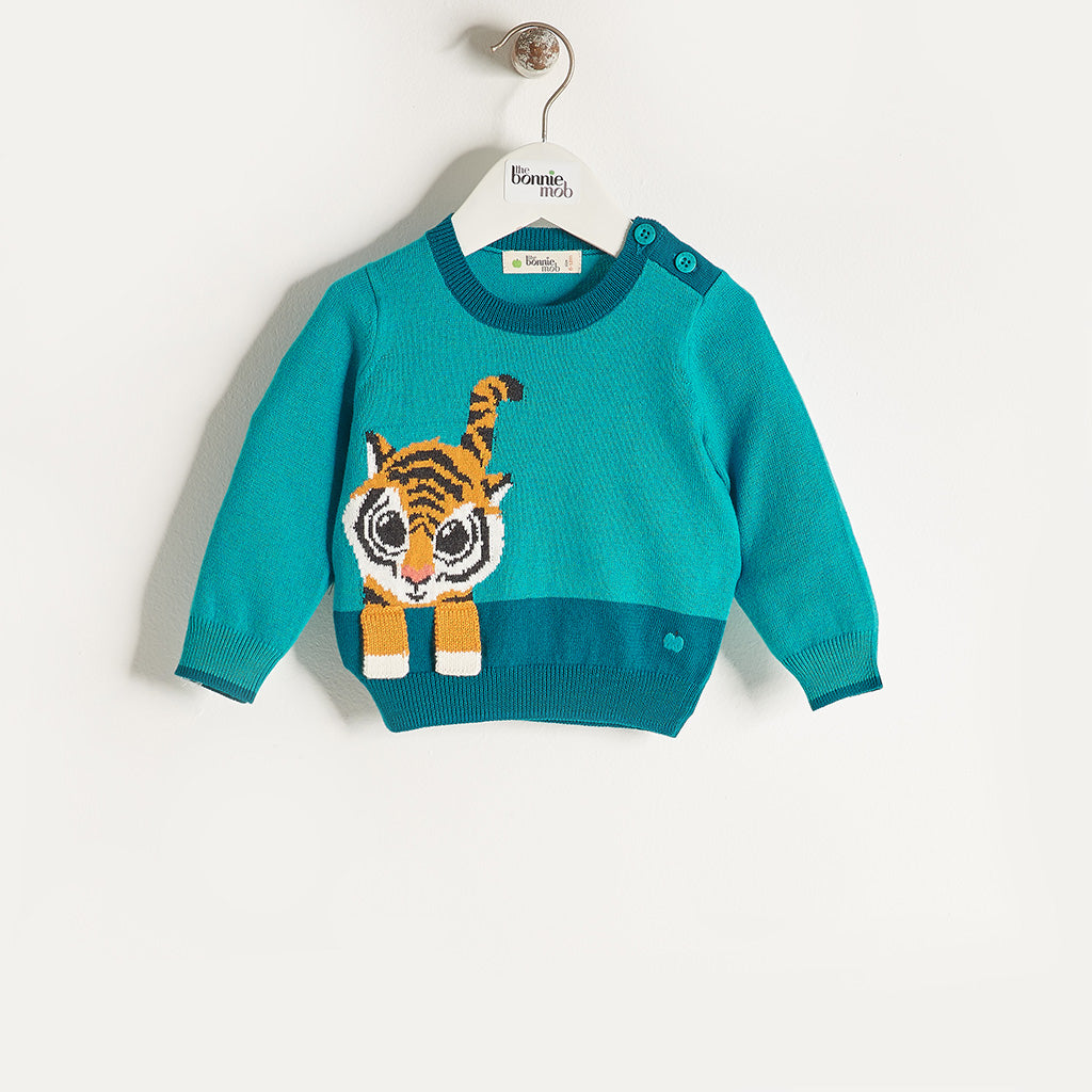 RAFFA - Unisex Baby Knitted Tiger Sweater - Teal