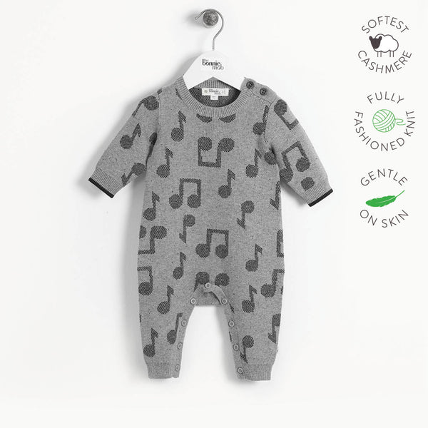 RATTLE - Baby Music Jaquard Playsuit - MONOCHROME