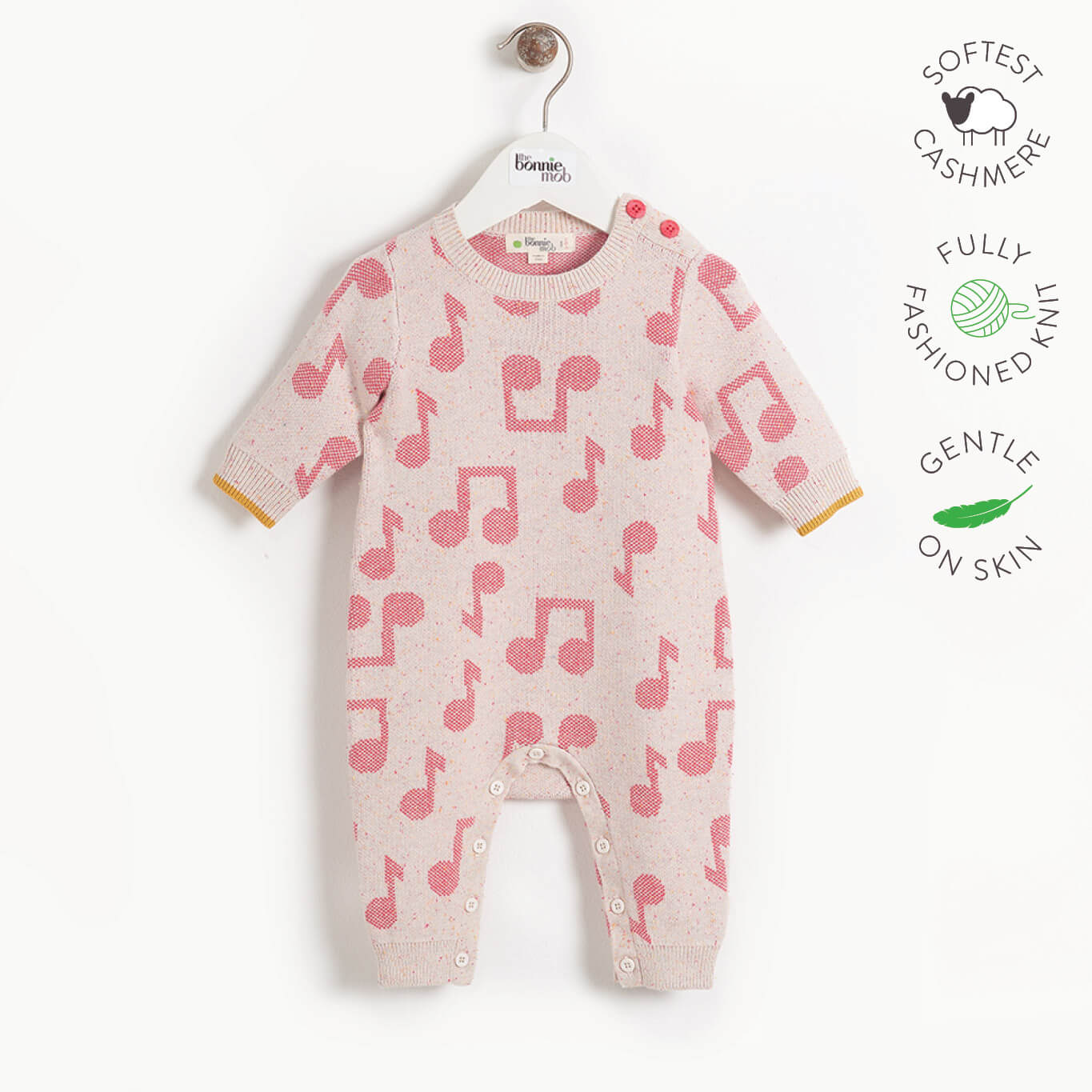 RATTLE - Baby Music Jaquard Playsuit - PINK