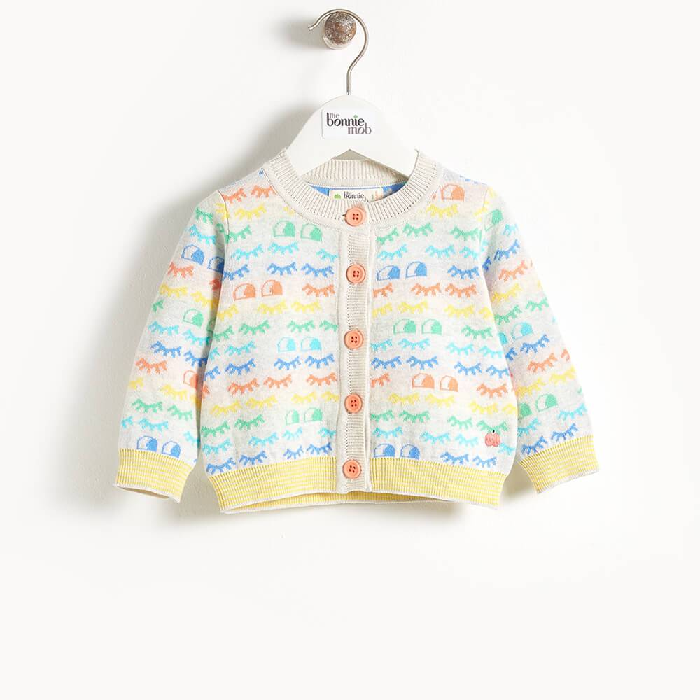 RAY -  Eyes Jacquard Baby Cardigan - Rainbow