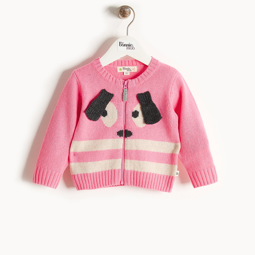 RHYME - Bunny Ears Cardigan - Baby Girl - Pink