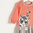 RIKI  - Girls Knitted Tiger Sweater Dress - Sorbet