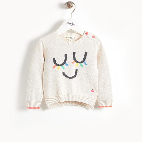 RILEY - Eyelash Intarsia Kids Sweater - Rainbow
