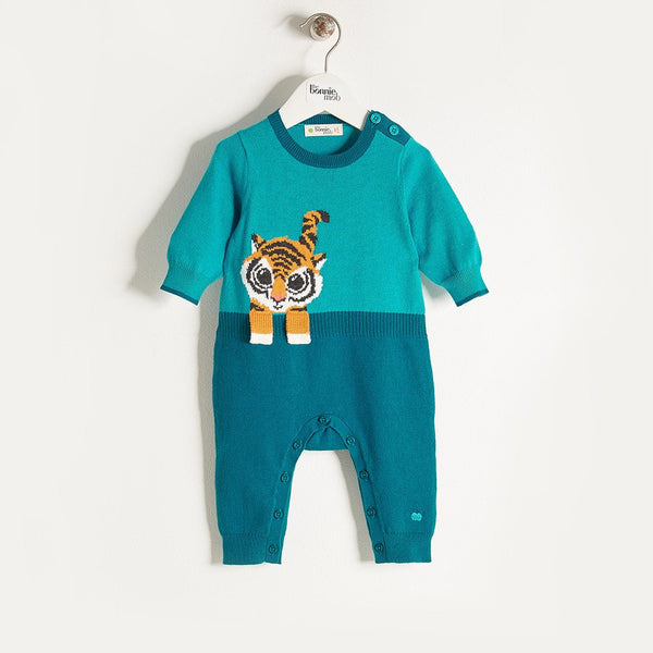 ROBIN - Knitted Tiger Baby Playsuit - Teal