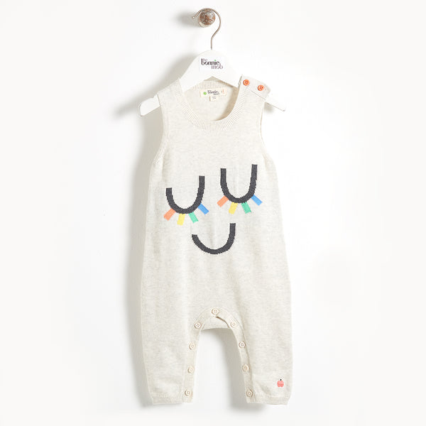 ROOS - Eyelash Intarsia Sleeveless Knit Baby Playsuit - Rainbow