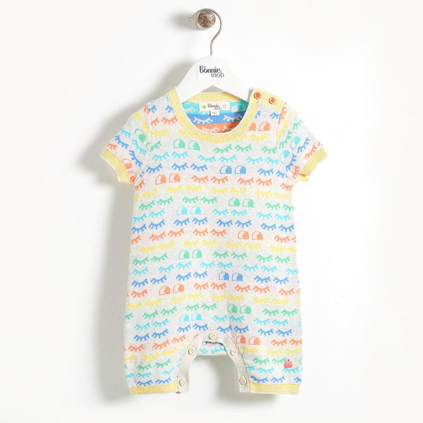 ROTHKO - Eyes Jacquard Shorty Baby Playsuit - Rainbow