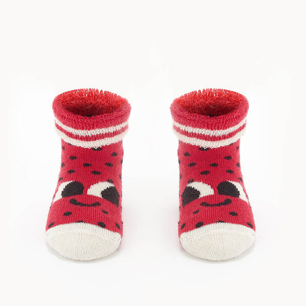 SEAN - Baby Strawberry Baby Bootie Socks - RED