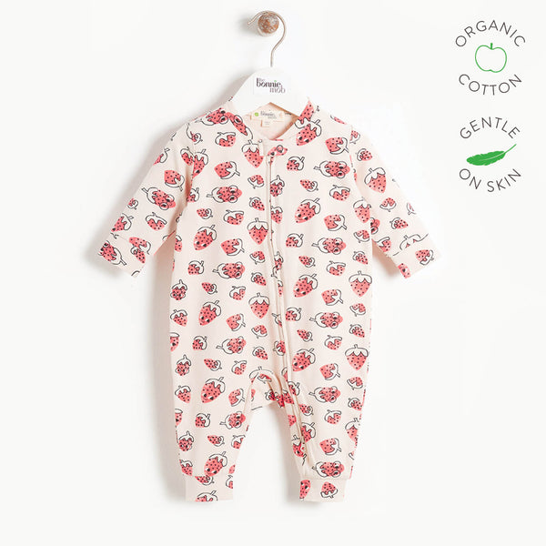 SKY - Baby Zip Front Playsuit - STRAWBERRY