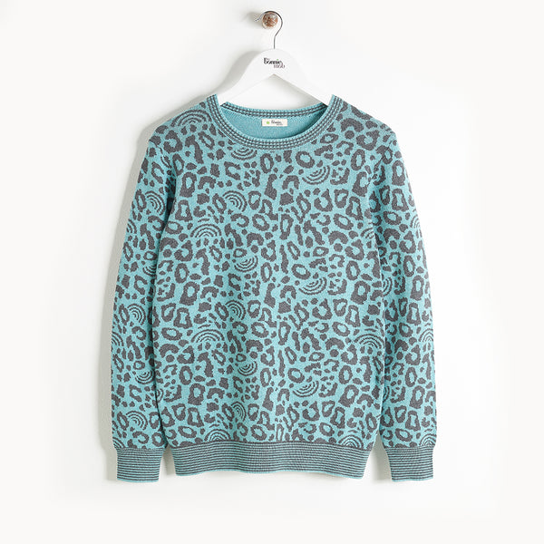 SOLO - Leopard Spot Sweater - Kids Boy - Teal