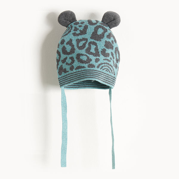 SPOTTY - Leopard Spot Hat With Ears - Baby Boy - Teal