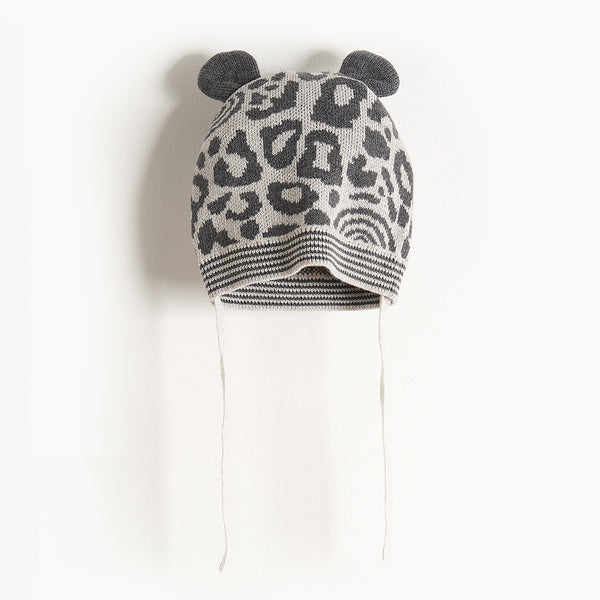 SPOTTY - Leopard Spot Hat With Ears - Kids Unisex - Grey