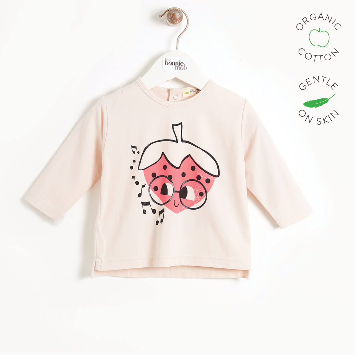 STUDIO - Baby Long Sleeve T-shirt - PLACED STRAWBERRY
