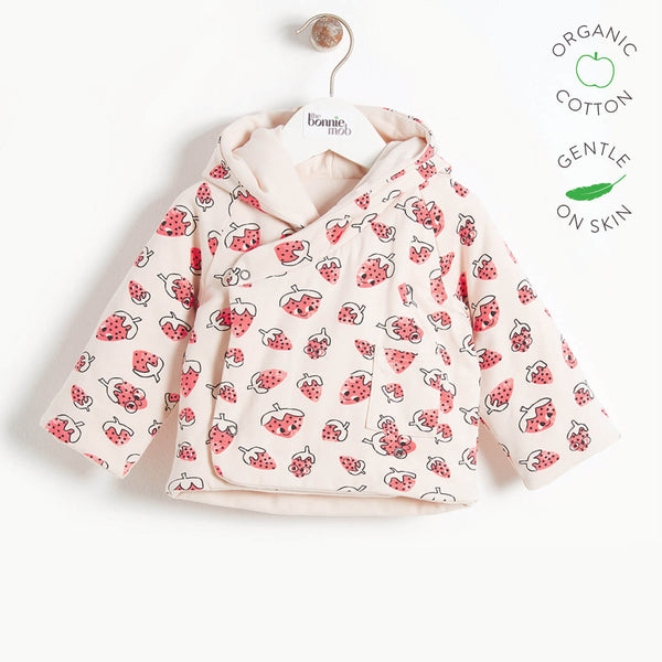 SWEET - Baby Padded Baby Jacket with Hood, Reversible - STRAWBERRY