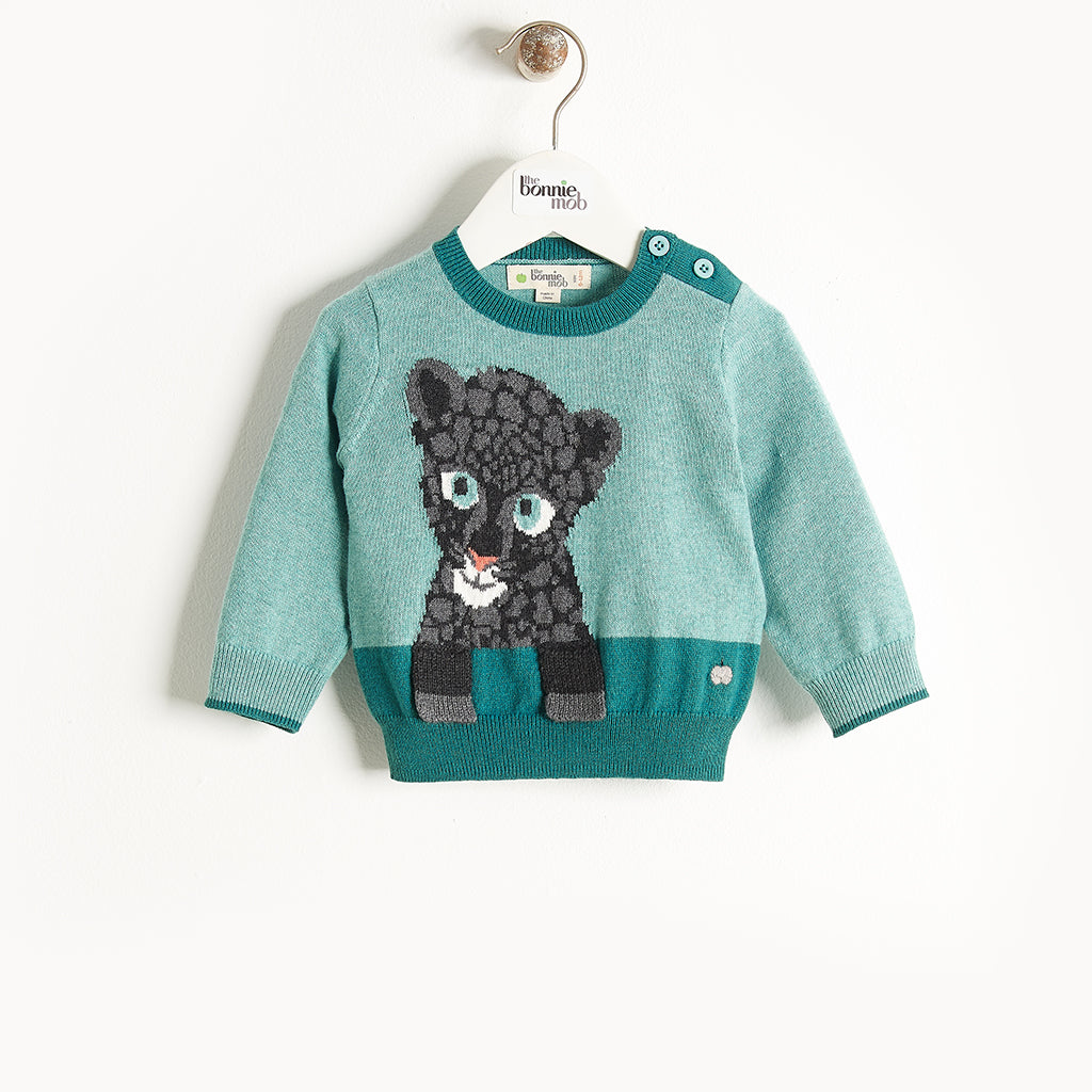 TEDDIE - Leopard Intarsia Sweater - Kids Boy - Teal