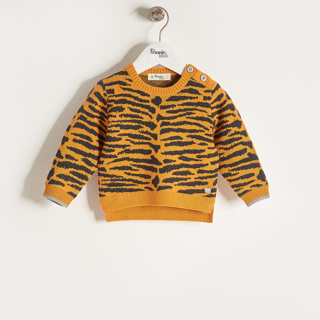 TEDDY - Unisex Baby Knitted Tiger Stripe Sweater - Honey