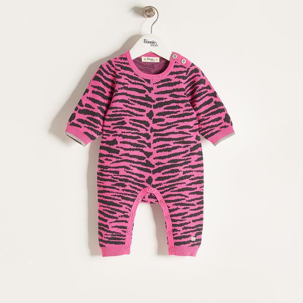 TIGGER - Baby Girl Knitted Tiger Stripe Playsuit - Pink