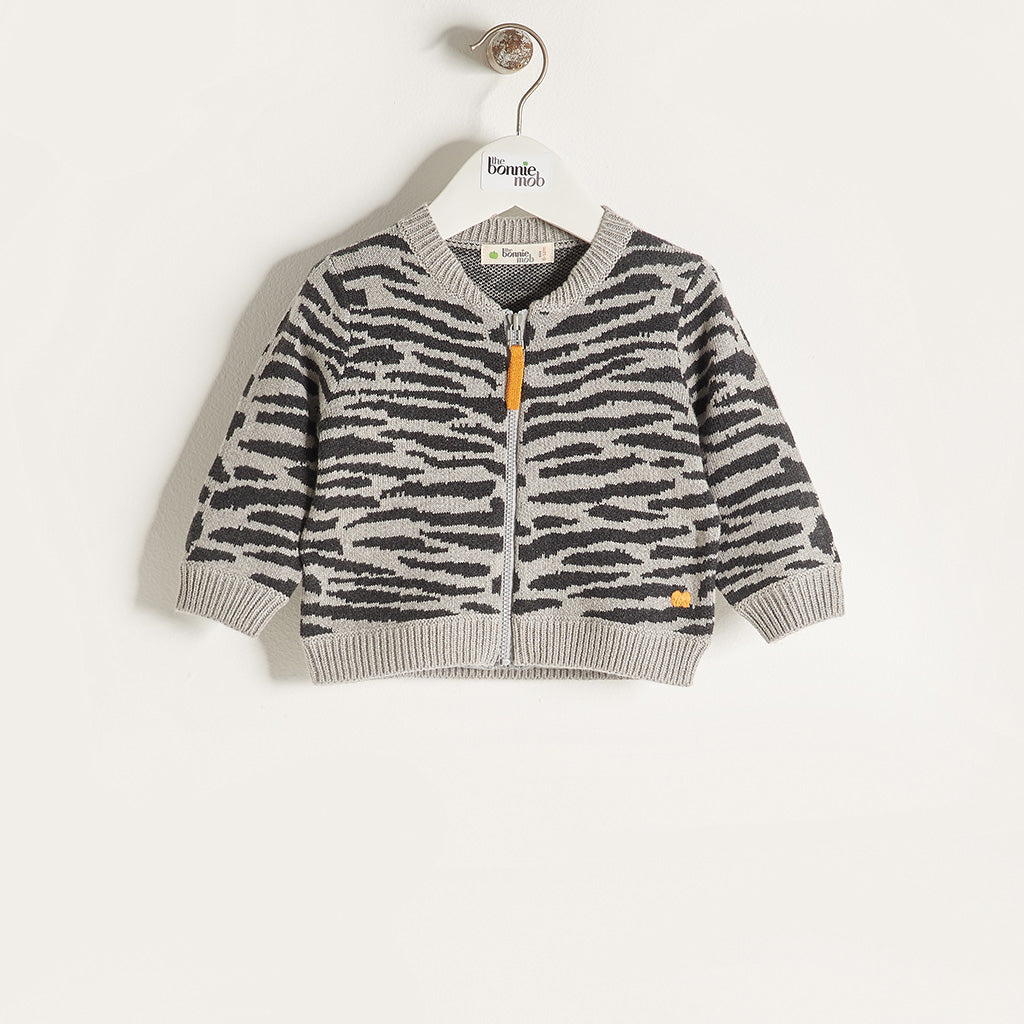 TIMMY - Unisex Kids Knitted Tiger Stripe Zipped Cardigan - Grey