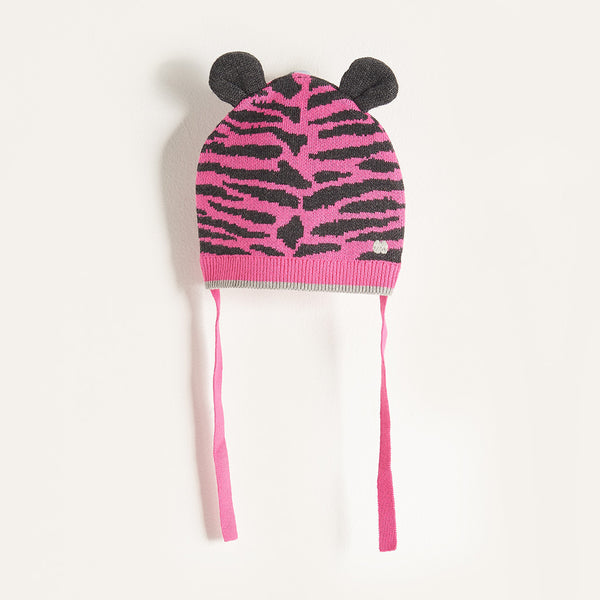 TITO - Baby Girl Knitted Tiger Stripe Hat with Ears - Pink