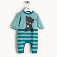 TOTO - Leopard Intarsia Playsuit - Baby Boy - Teal