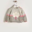 VONNY - Unisex Baby Knitted Flash Cloud Sweater - Grey/Yellow