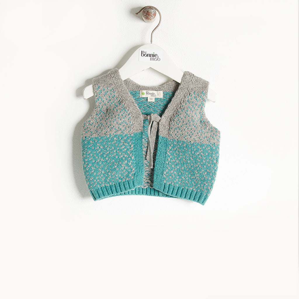 WARREN - Chunky Knit Gilet - Baby Boy - Teal